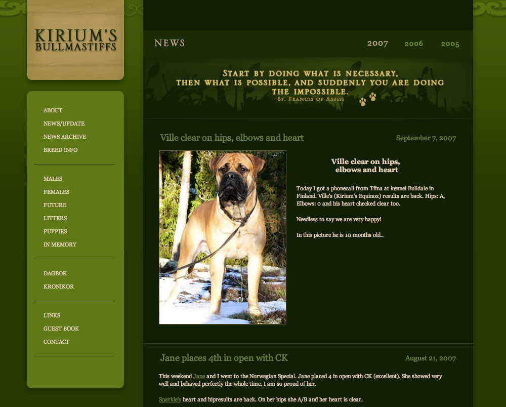 bullmastiff Archive News screen