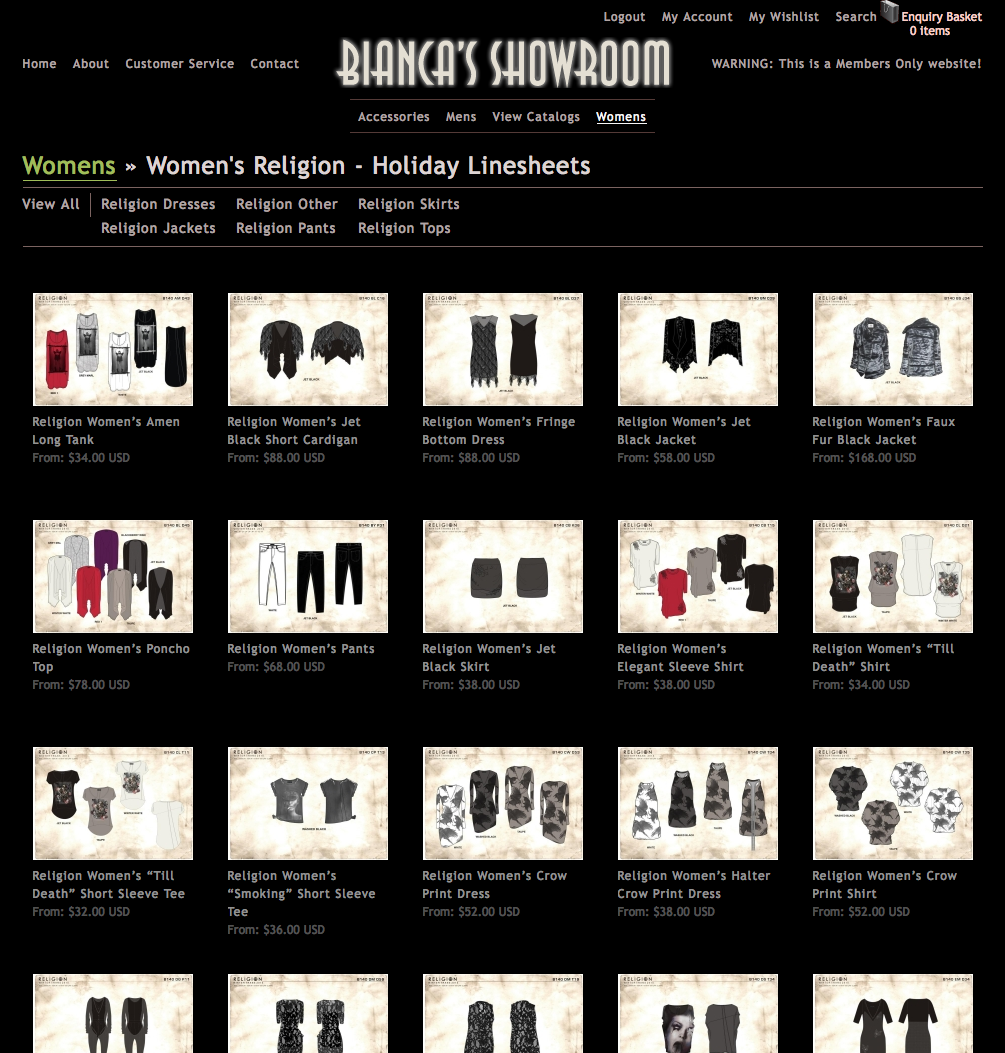 Bianca's Showroom Linesheets