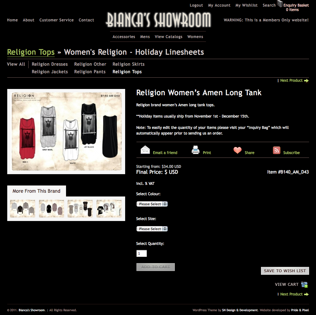 Bianca's Showroom Product Page