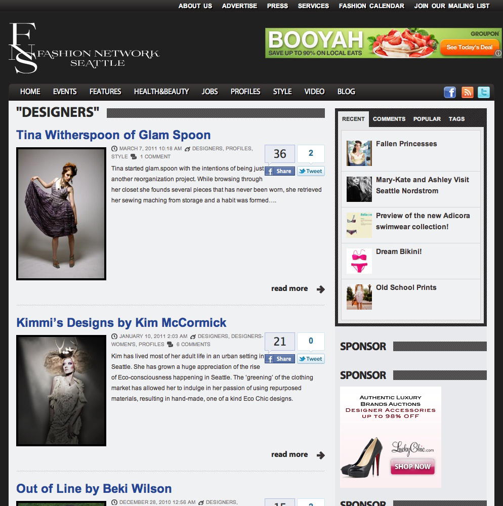 Fashion Network Seattle Designers Page