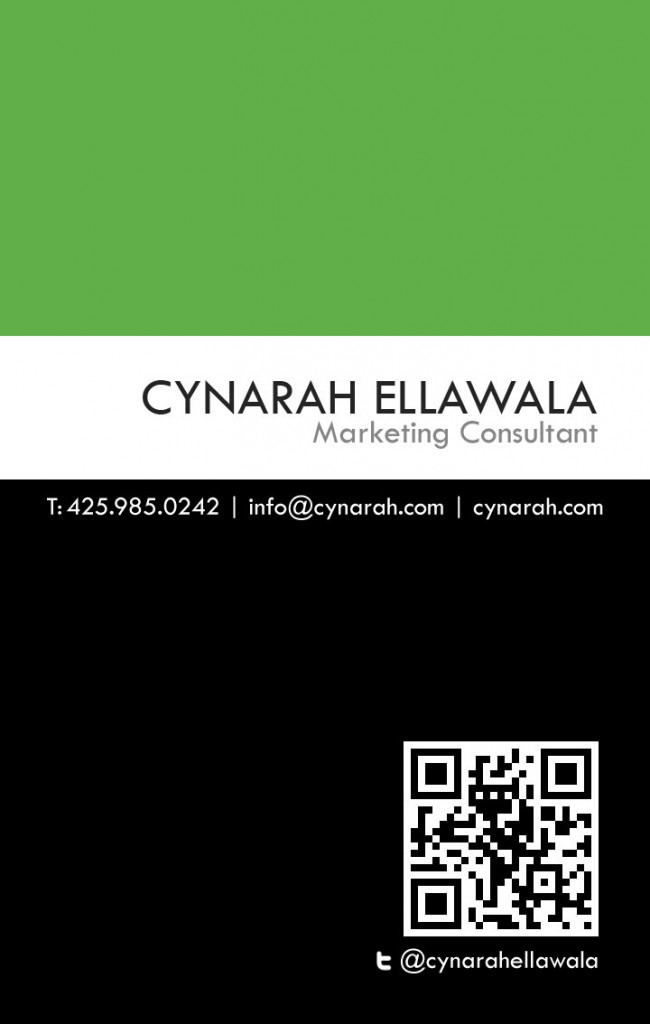 Cynarah Business Card Back