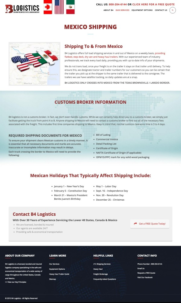 B4 Logistics Mexico Shipping Page
