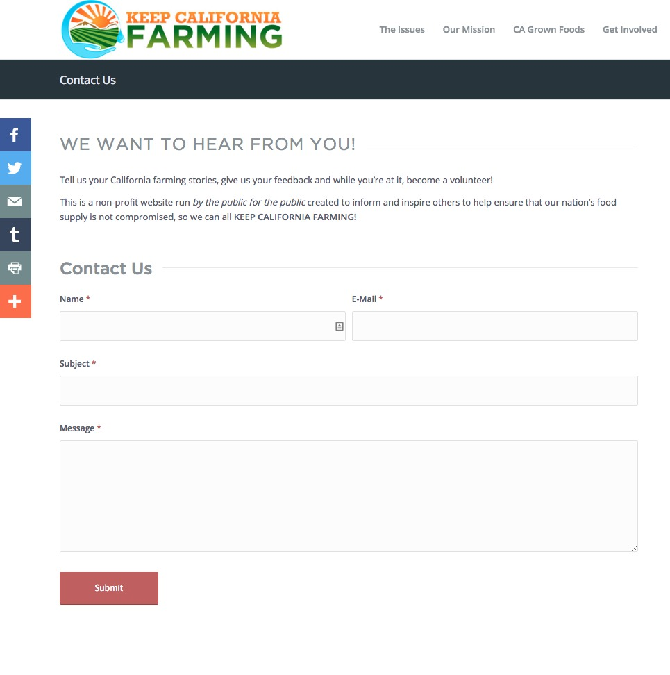 Keep California Farming Contact