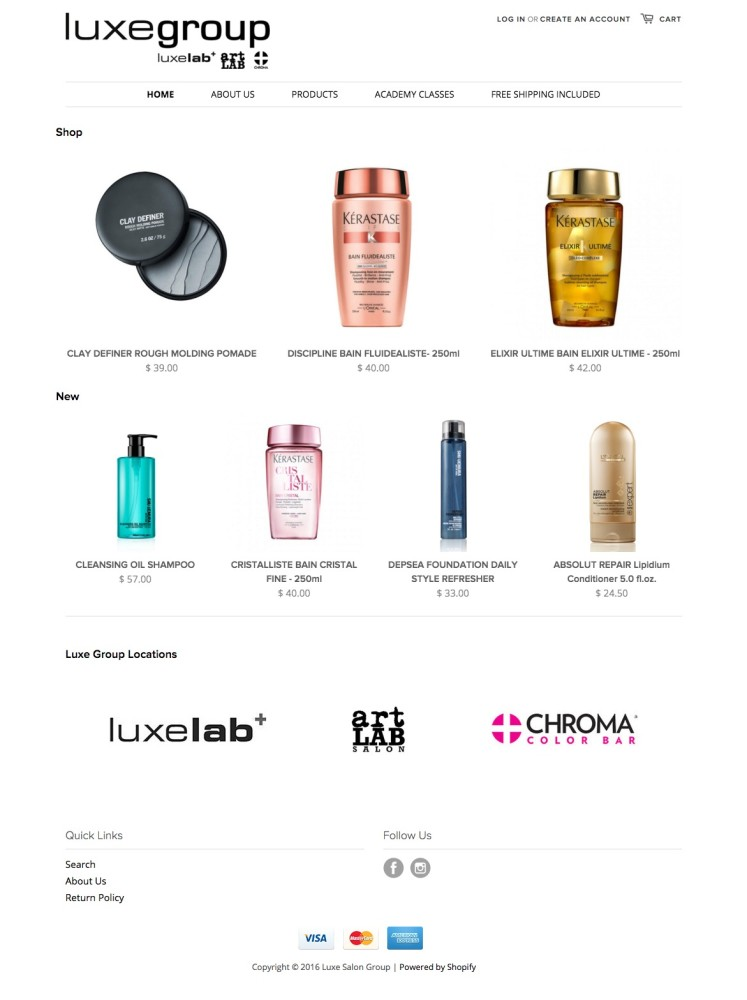 LuxeLab Salon Product Store