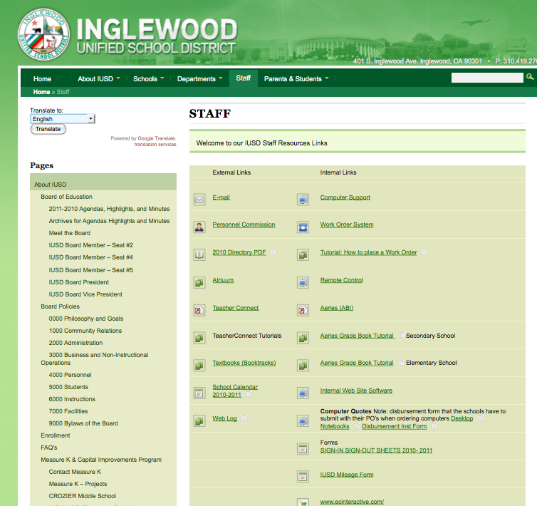 Inglewood Unified School District School Staff Page