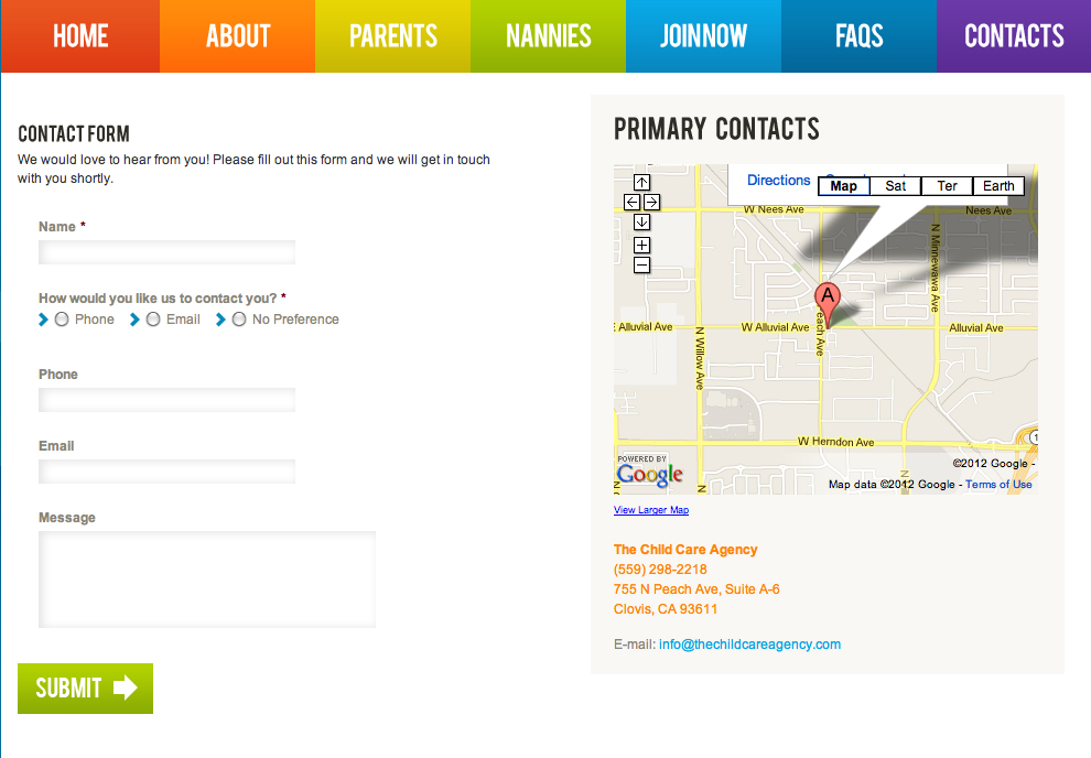 The Child Care Agency Contact Page