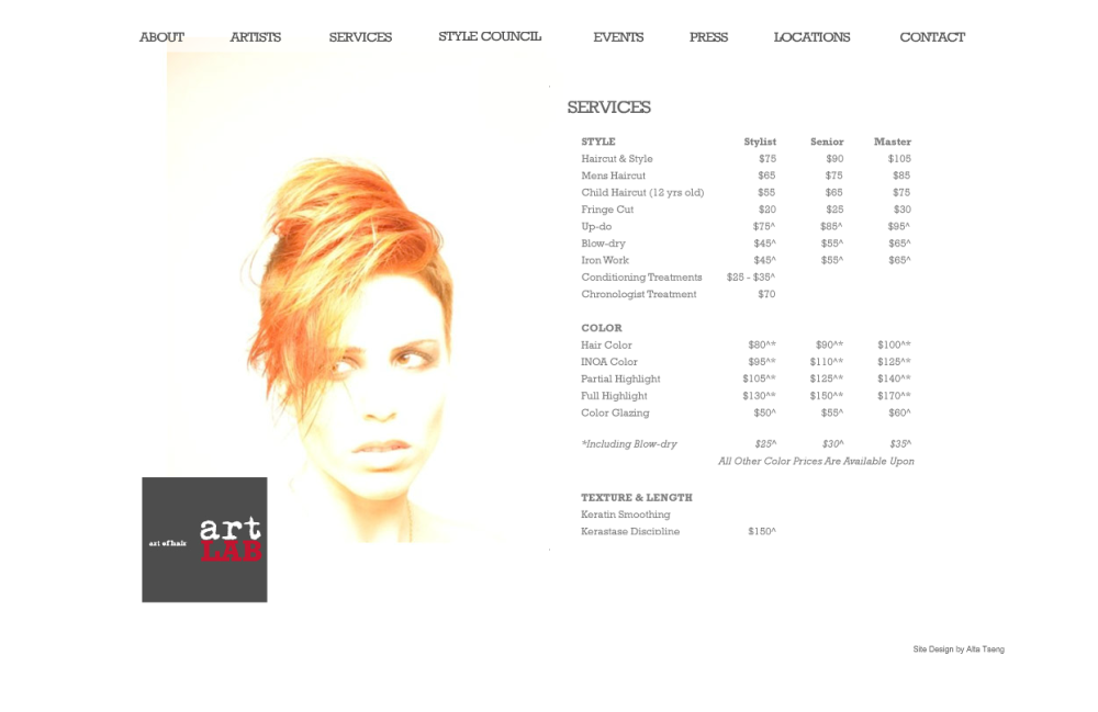 Old ArtLab Services Page